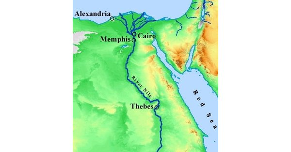 Map showing location of Thebes