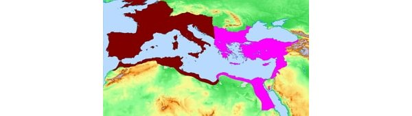 Map showing the divided Roman Empire