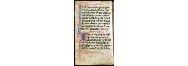 The start of the Gospel of John from Wyclyffes translation