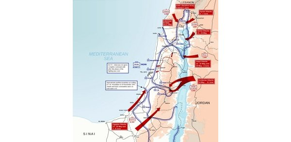 Map showing the attacks on Israel in 1948