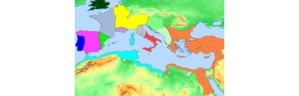 Map showing the disintegrated Roman Empire